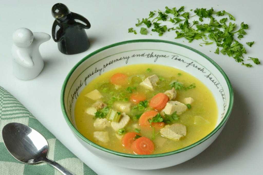 A bowl of Homemade Turkey Soup