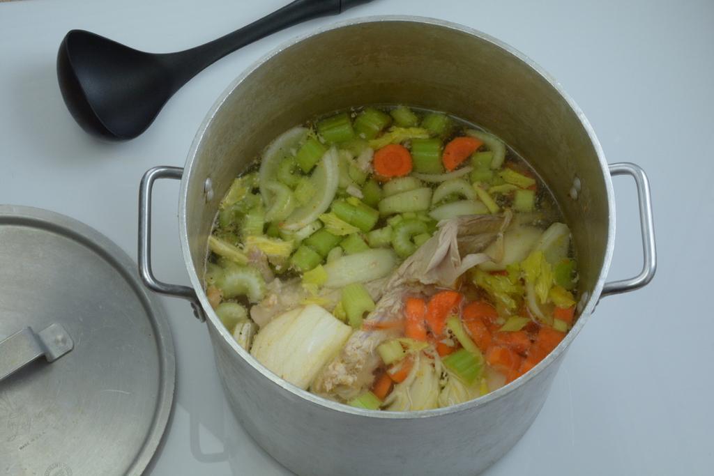 A Full Stockpot ready to make turkey stock