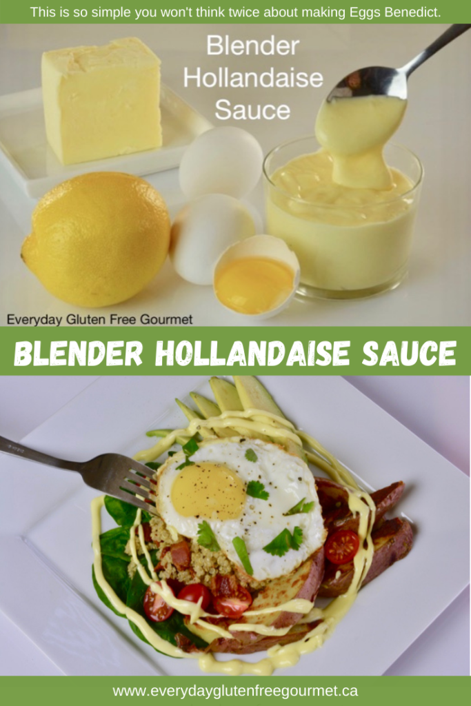 Blender Hollandaise Sauce and the ingredients to make it; lemon, egg yolk and butter.