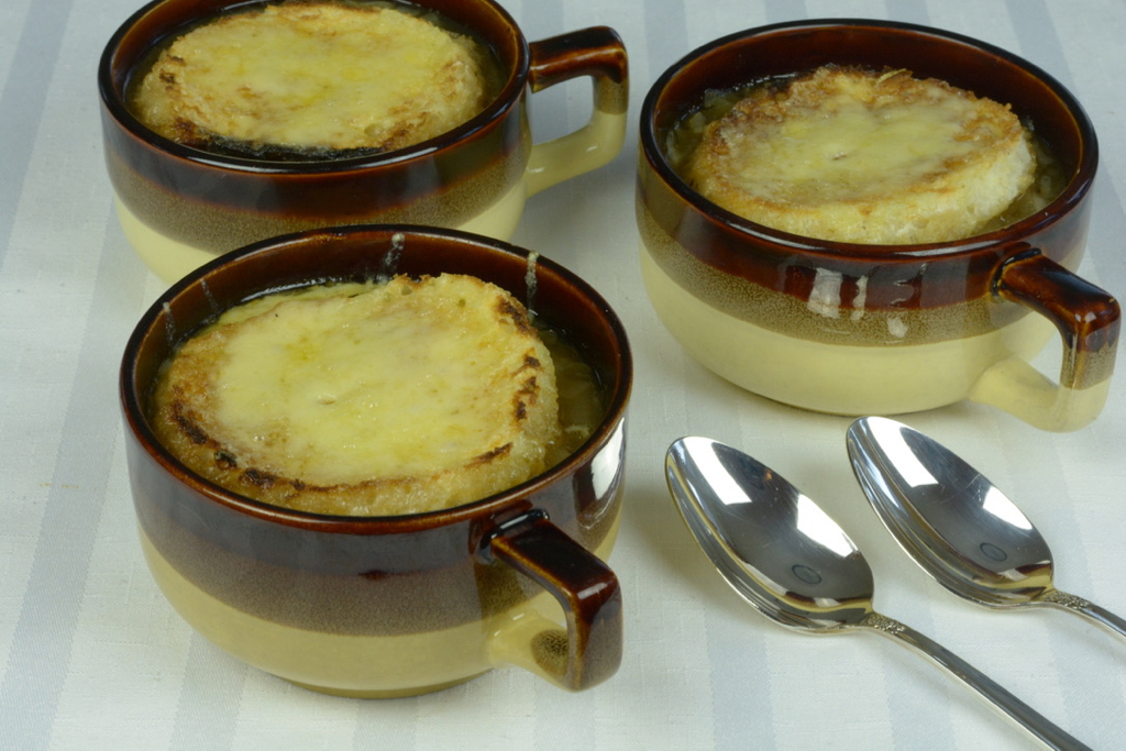 A classic French Onion Soup made by caramelizing onions and topped with imported Swiss cheese.