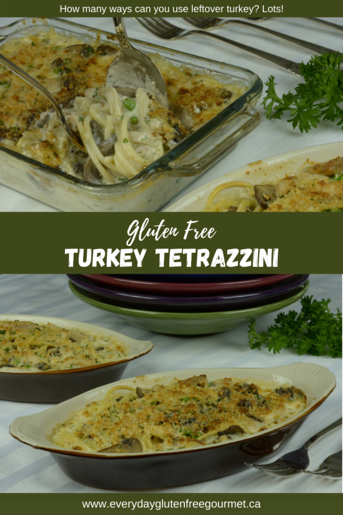 Turkey Tetrazzini casserole with peas, mushrooms and a Parmesan-crumb topping.