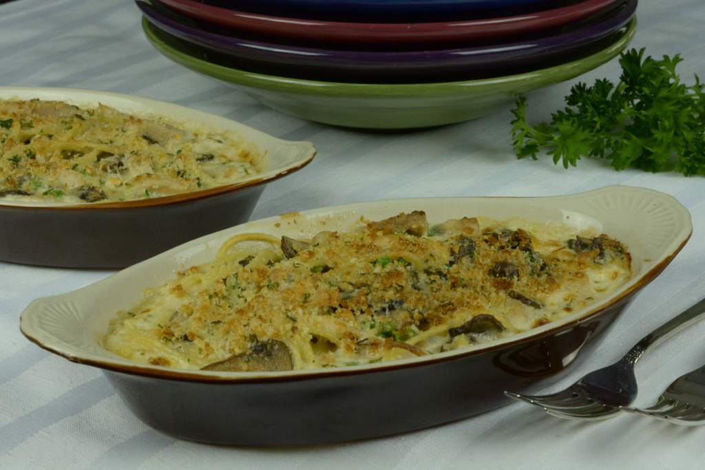 Turkey Tetrazzini topped with Parmesan and gluten free breadcrumbs.
