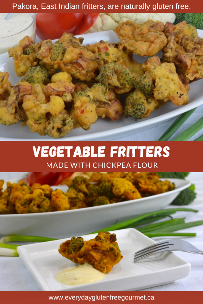 Vegetable fritters, an East Indian pakora made with chickpea flour.