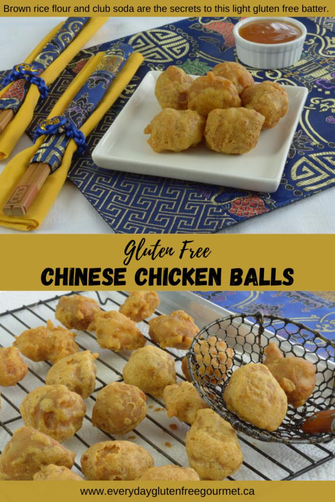 Gluten free Chinese Chicken Balls served with plum sauce.