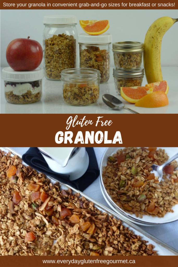 Jars of gluten free pistachio apricot granola