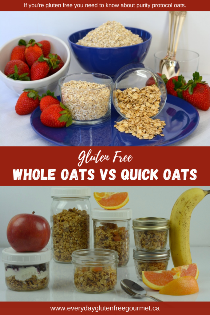 Whole Oats vs Quick Oats shown side by side with jars of homemade granola.