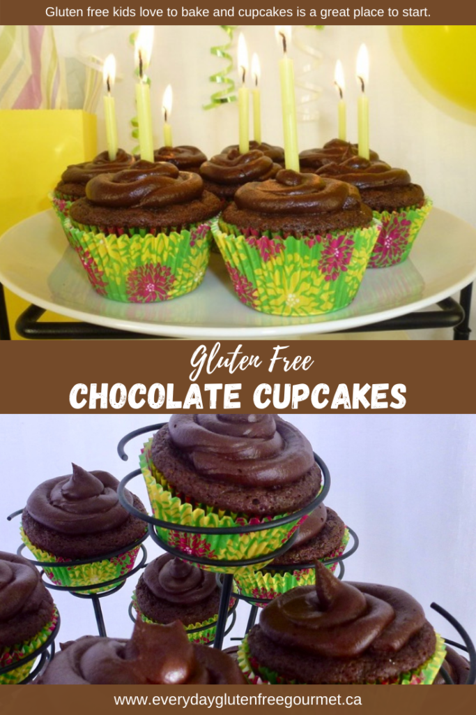 Chocolate Cupcakes with chocolate icing and yellow candles for a birthday.