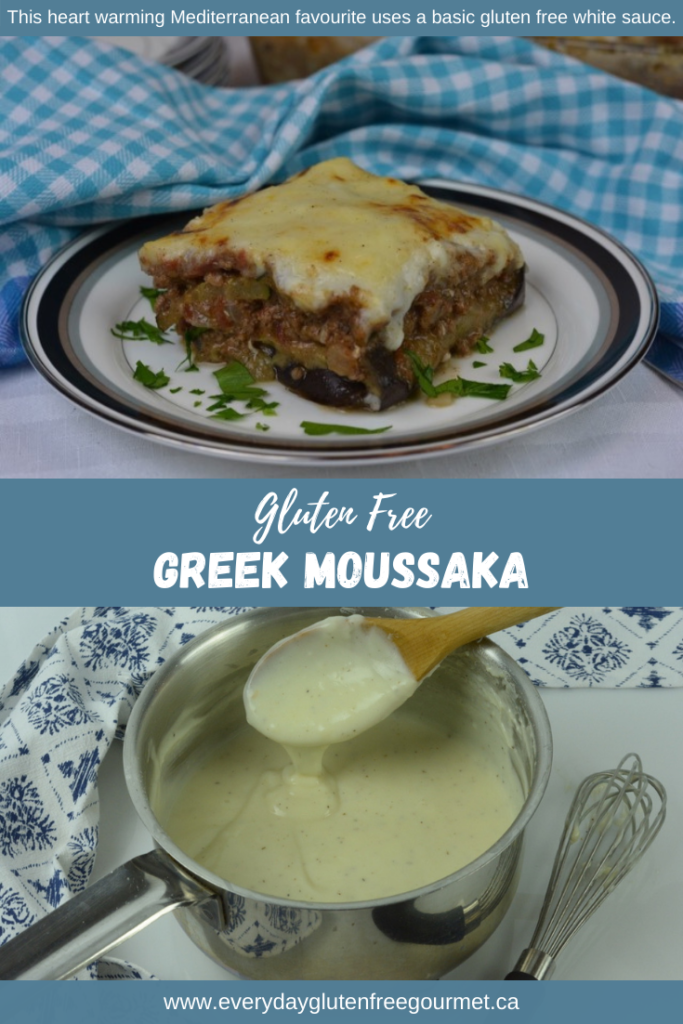 A Greek classic, oven-baked Moussaka topped with a creamy white sauce that has Parmesan and feta cheese.