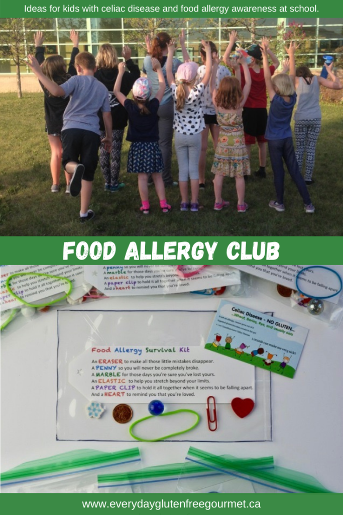 A Food Allergy Survival Kit for Food Allergy Club, an idea for celiac kids and those with food allergies to increase awareness at school.