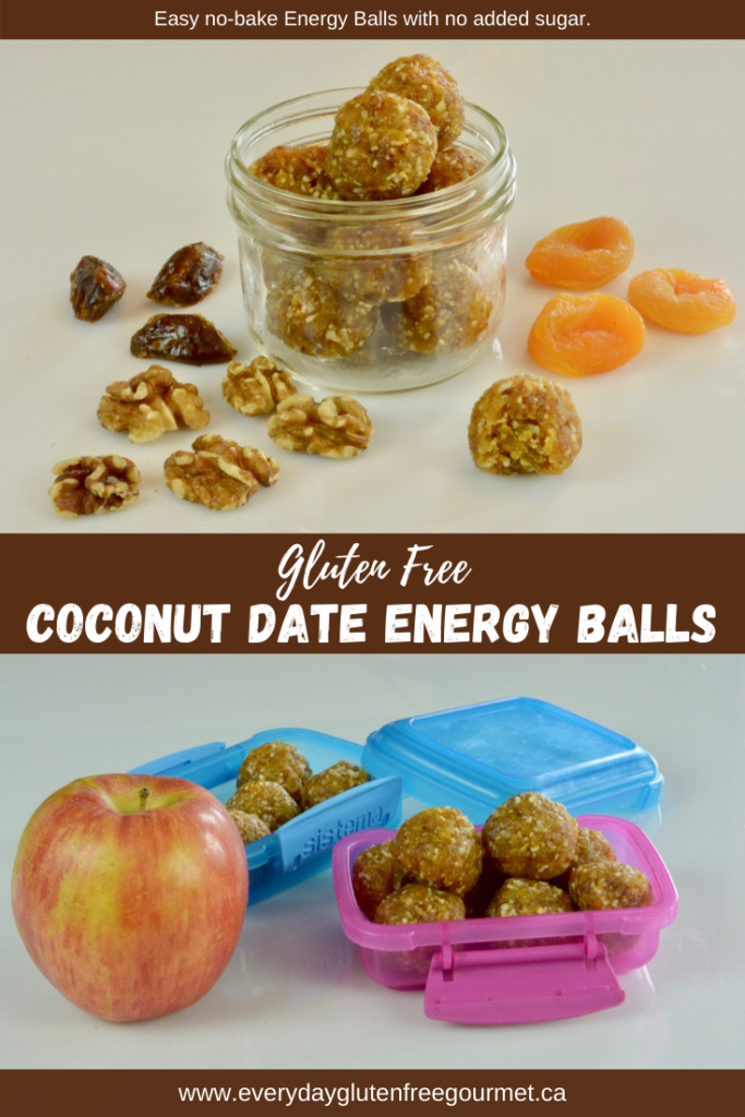 Coconut Date Energy Balls in a jar surrounded by dates, walnuts and dried apricots.