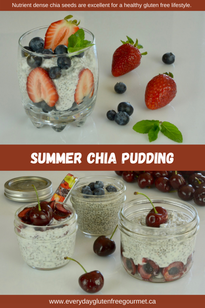 Nutrient dense chia seeds are an excellent choice for a gluten free diet and Summer Chia Pudding is only one way to use them.