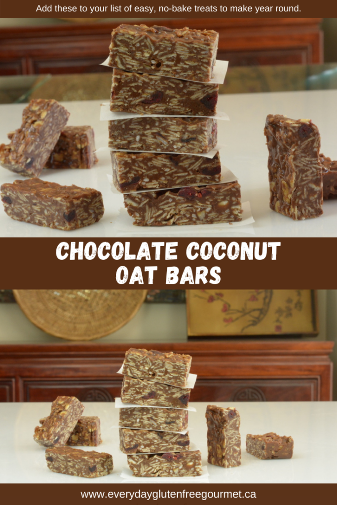Chocolate Coconut Oat Bars stacked with paper between them ready to enjoy.