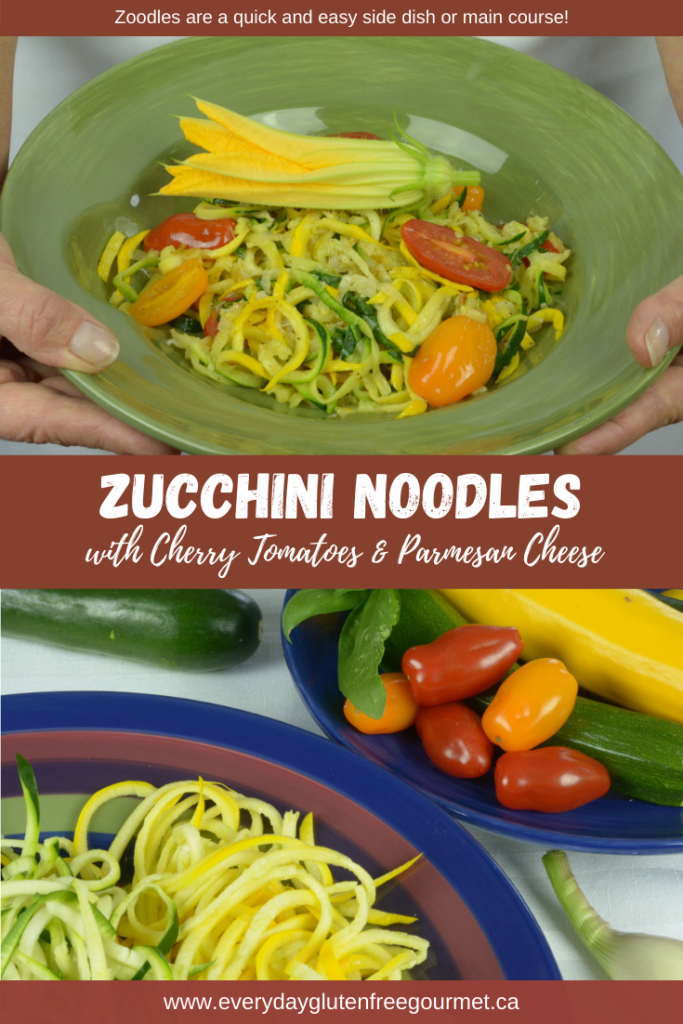 A bowl of Zucchini Noodles with Cherry Tomatoes, Basil and Parmesan Cheese, a seasonal recipe made with ingredients straight from the garden.