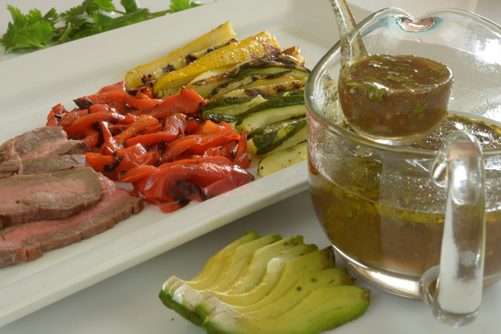 Chipotle Honey Sauce to go on grilled flank steak and vegetables.