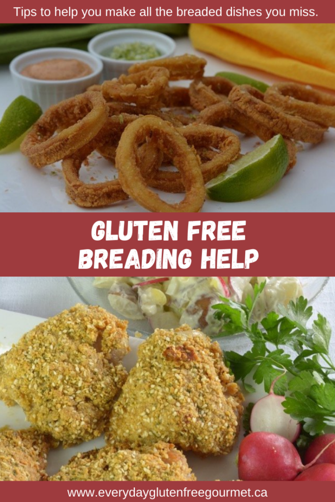 Help for gluten free breaded recipes; showing Crisp Calamari and Sesame Baked Chicken.
